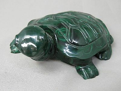 Gem-Quality Natural Malachite Turtle Vintage Statue