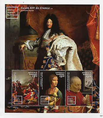 Antigua & Barbuda 2015 MNH World Famous Paintings 3v M/S II Da Vinci Stamps
