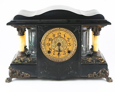 Seth Thomas Adamantine Mantle Clock Larkin Model 35 c1900 w/ Original Bob & Key