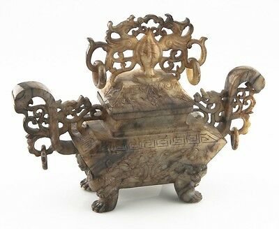 Antique Chinese Jade Phoenix Urn Incense Burner China (Han Dynasty Style) w/ Lid