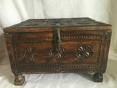 Antique Primitive Hand Carved Fine Wooden Storage Chest Dowry Box.