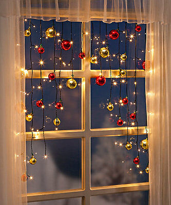 xl fenster deko lichterkette lichtervorhang weihnachtskugeln 70 led kugeln gold eur 34 90. Black Bedroom Furniture Sets. Home Design Ideas