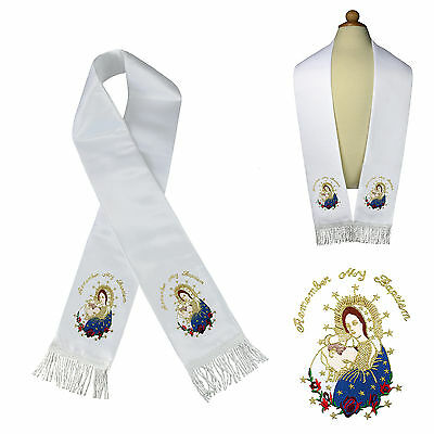 White Satin Stole Communion Baptism Christening Embroidered Virgin Mary & Pope