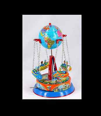 New Globe Carousel Tin Toy Rocket Ride  Lever Action Germany Made