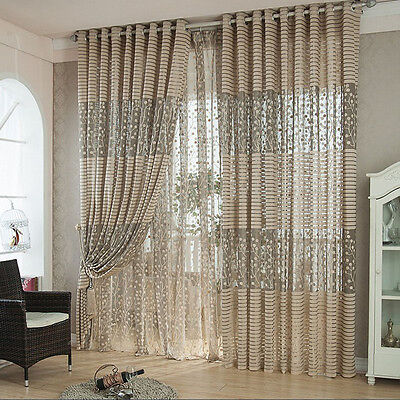Romantic Door Window Sheer Curtain Drape Panel Leaf Voile Tulle Scarfs Valances