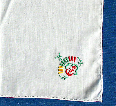 Cadette Girl Scout HANKIE 1960s Embroidered Logo RARE GIFT Excellent