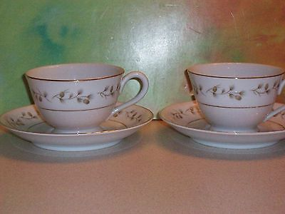 Royal Cameo Fine China Whispering Pine Cup and Saucer Japan # 3302 Set of 2