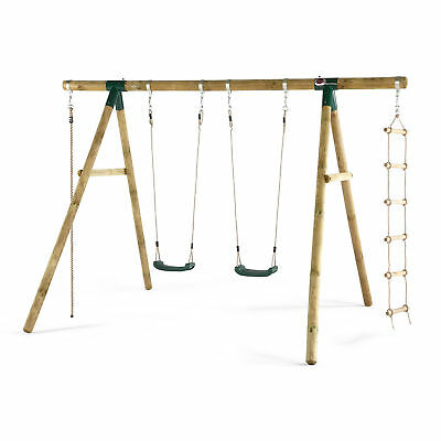 NEW Plum Wooden Gibbon Swing Set Seats Rope Ladder Sustainable Timber Outdoor