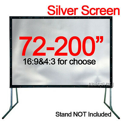 100-200 Inch Portable Home Theater HD Projector Silver Projection Screen Curtain
