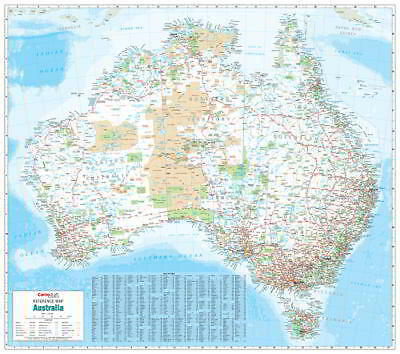 NEW Laminated Wall Maps - Aust Australia Reference Map Large