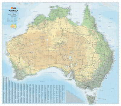 NEW Laminated Wall Maps - Aust Australia Road & Terrain Mega Map