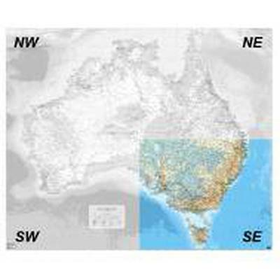 NEW Laminated Wall Maps - Aust Auslig Australia  - SE Quadrant