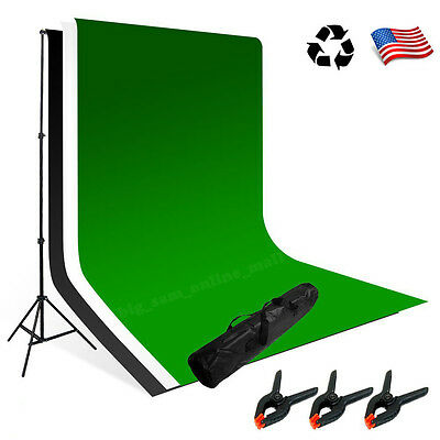 Photography Background Support Kit White Black Green ChromaKey Backdrop + Clamps