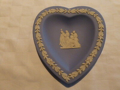 Wedgwood Blue Jasperware Heart Shaped Pin Tray