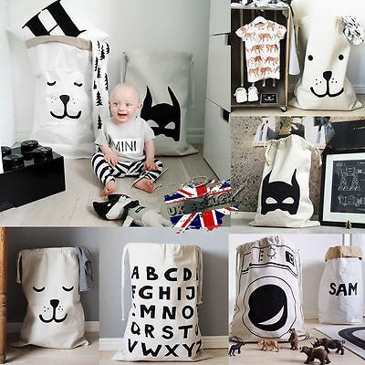 Large Baby Toys Storage Canvas Bags Bear Batman Laundry Hanging Drawstring Bag