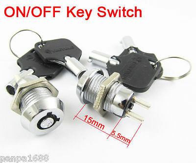 1pc ON/OFF Key Ignition Switch Metal Lock Switch Plastic handle 10.5x19mm 506#