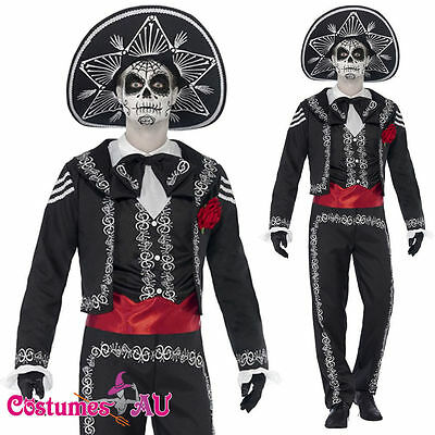 Mens Mexican Day Of The Dead Senor Bones Skull Spanish Costume Halloween + Hat