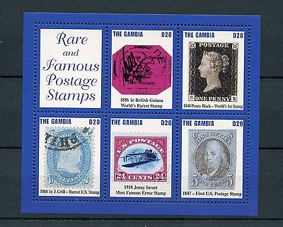 Gambia 2004 MNH Rare & Famous Postage Stamps 5v M/S Penny Black Jenny Invert