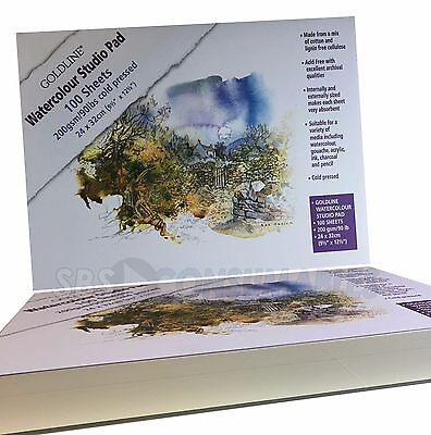Goldline 200 gsm Watercolour Pad (Pack of 100 Sheets) Premium Artists Studio A4+