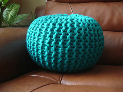 """Hand Knitted Chunky Pouf/footstool/cushion  ( Height Approx 10"""" Width 13"""" )"""