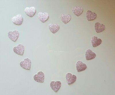 100 heart pink glitter effect thick paper table confetti wedding craft party