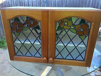 Retro Stained Glass Lead Light Cabinet