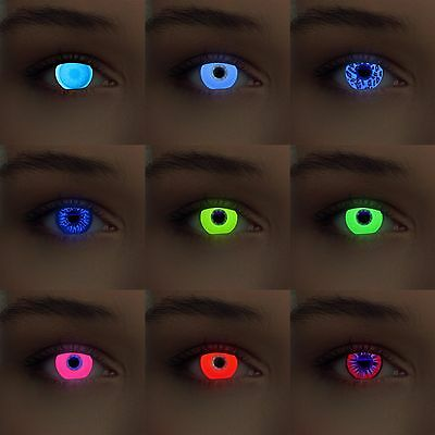 Glowing colored uv light contacts Scary Crazy Cosplay Halloween costume lenses
