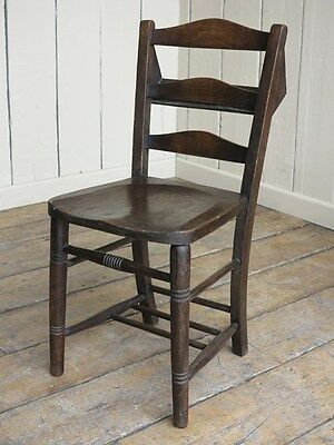 Victorian Dark Wooden Church Chairs - Reclaimed Old Antique Chapel Chairs - Seat