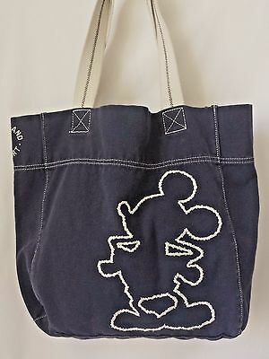 DISNEYLAND Mickey Mouse Canvas Shoulder Tote Bag Blue Embroidered Cotton Canvas