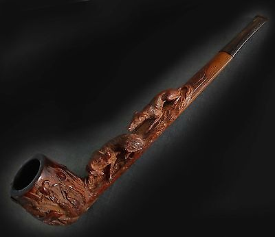 Stunning Rare Large Black Forest Carved Wooden Pipe.