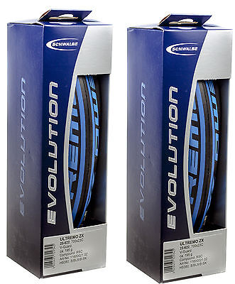 NEW - 2 Pack - Schwalbe Ultremo ZX 700X23C Clincher Blue/Black