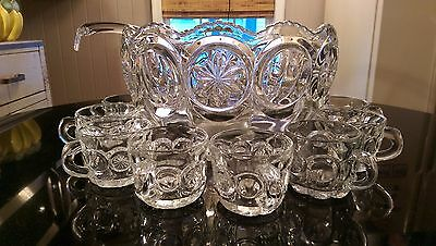 Gorgeous Antique Patterned Glass Punch Bowl Set NOS