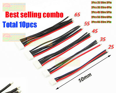 10Pcs/Lot JST XH Connector 2-6S Balance Charger Silicone Cable Wire Adapter Plug