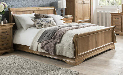 Solid Oak French Sleigh Bed - 5 Ft -  Kingsize