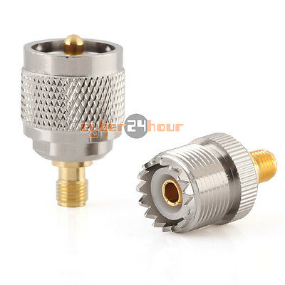 2 pieces UHF female SO239 (PL259) to SMA male straight adapter gold contact