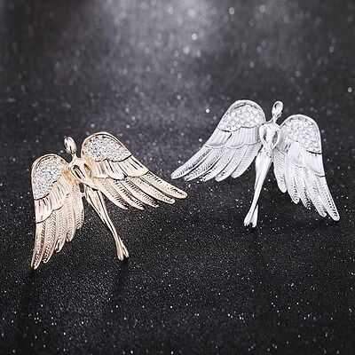 Charm Gold Silver Tone Angel Wings Brooch Suit Clip Pin Brooch Safety Pin Badge