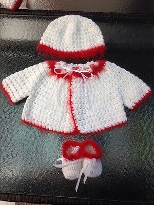 BABY CLOTHES HANDMADE 0-3 MONTHS White Red Trim SHOES JACKET & HAT Set