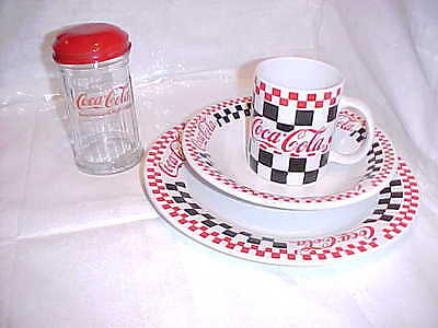 4 piece Coke Coca-Cola 1996 3-pc Checkered Dinnerware & 1-pc 1992 SUGAR SHAKER.
