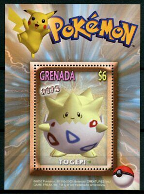 Grenada 2002 MNH Pokemon #175 Togepi 1v S/S Nintendo Game Freak Stamps