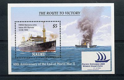 Nauru 2005 MNH WWII Route Victory 1v S/S Ships Second World War II Stamps
