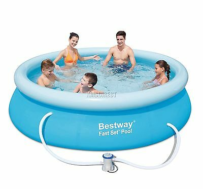BestWay Fast Set Swimming Pool Round Inflatable 10ft x 30inch + Filter Pump USED