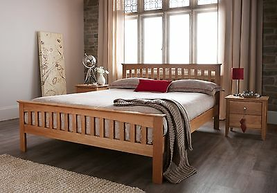 Anders Solid Oak Wooden Bed Shaker Style in Oak - Single Double King Super King