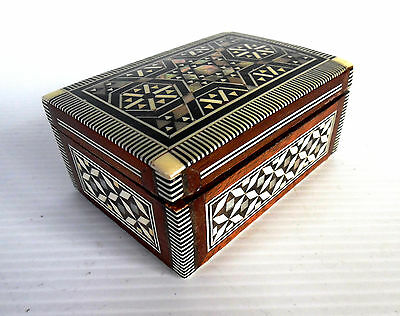 Islamic Style Mother Of Pearl In-layed Small Wooden Trinket Box Red Lining