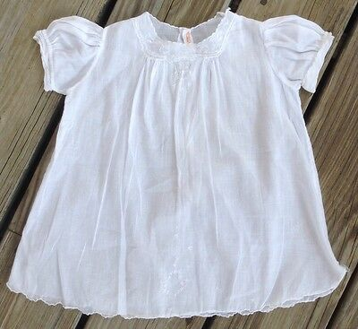 Vintage 0-6 Month Delicate White Embroidered Baby Nightgown Christening Dress