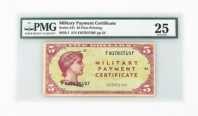 1958 US Military Payment Certificate $5 VF-25 PMG MPC Series 541 P.SM41