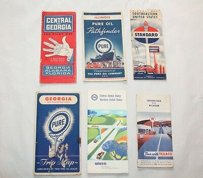 Vintage Lot of 6 Pure Oil Company, Standard Oil Gas Co, Texaco, Road Maps lot 9