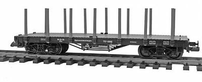 Zenner Stake wagon Flat wagon with black Stanchion, four axle, G Scale