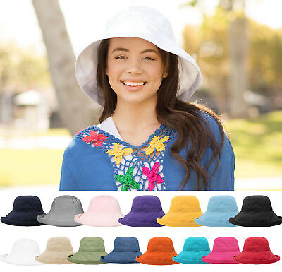 Bucket Hat Cotton Wide Brim Boonie visor Women Sun Outdoor Summer Camping Cap