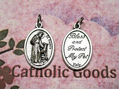 "St Francis - Bless & Protect My Pets - Ox Silver-Tone Die Cast Italian 1"" Medal"
