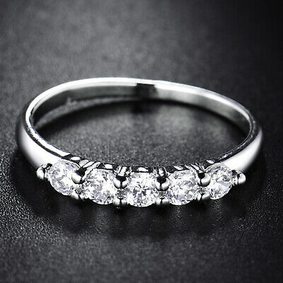 Sz5-9 Antique Silver Tone Bar Enchased Clear Sapphire Rhinestone Finger Ring NEW